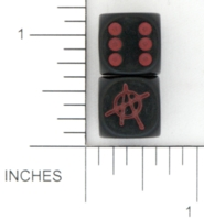 Dice : D6 OPAQUE ROUNDED SOLID TATTOO MAMMA ANARCHY 01