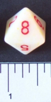 Dice : D8 OPAQUE ROUNDED SPECKLED WITH RED 2