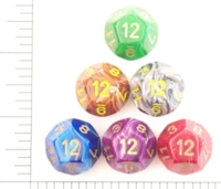 Dice : D12 OPAQUE ROUNDED SWIRL CHESSEX VORTEX