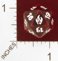 Dice : D20 CLEAR ROUNDED SOLID MTG LIFE COUNTERS FIRE AND LIGHTNING 01