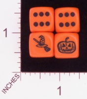 Dice : D6 OPAQUE ROUNDED SOLID CHESSEX CUSTOM 16 FOR JSPASSNTHRU WITCHES HAT JACK O LANTERN PUMPKIN