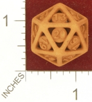Dice : MINT26 SHAPEWAYS BARKS CAGE DICE D20 ARIAL FONT 01