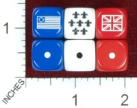 Dice : MINT40 CHESSEX CUSTOM FOR WATCHFUL STUDIO US COLONIAL FRENCH BRITISH FLAGS