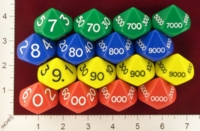 Dice : D10 OPAQUE ROUNDED SOLID KOPLOW JUMBO PLACE VALUE 01