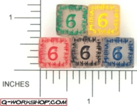 Dice : NUMBERED CLEAR ROUNDED SOLID Q WORKSHOP RUNIC 01