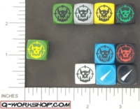 Dice : NON NUMBERED OPAQUE ROUNDED SOLID Q WORKSHOP ORC SCATTER 01