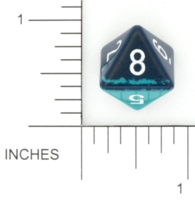 Dice : D8 OPAQUE ROUNDED SOLID TWO TONE 01