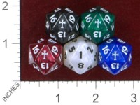 Dice : D20 OPAQUE ROUNDED IRIDESCENT CRYSTAL CASTE CROSS SPINDOWN COUNTDOWN