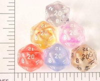 Dice : D20 CLEAR ROUNDED SWIRL CHESSEX NEBULA 01