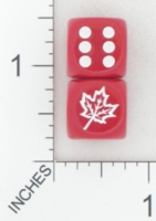 Dice : D6 OPAQUE ROUNDED SOLID CHESSEX CUSTOM 19 FOR JSPASSNTHRU MAPLE LEAF