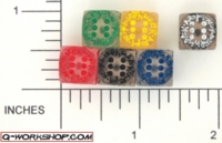 Dice : D6 CLEAR ROUNDED SOLID Q WORKSHOP RUNIC SMALL 01