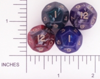 Dice : D12 OPAQUE ROUNDED SWIRL CRYSTAL CASTE TREASURE CHEST 01