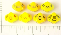 Dice : D10 OPAQUE ROUNDED SOLID YELLOW