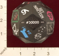 Dice : PAPER D30 MY DESIGN RHOMBIC TRIACONTAHEDRON PROTOTYPE FOR 30000