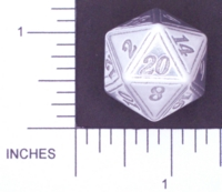 Dice : METAL ALUMINUM D20 01 CAVE BADGER 02 ETCHED HIGH POLISH
