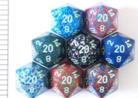 Dice : D20 OPAQUE ROUNDED SPECKLED WITH GREEN 1
