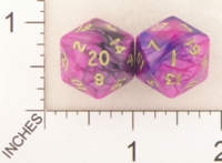 Dice : D20 OPAQUE ROUNDED IRIDESCENT SWIRL CRYSTAL CASTE TOXIC 01
