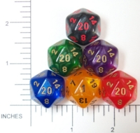 Dice : D20 OPAQUE ROUNDED IRIDESCENT CHESSEX VELVET