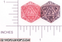Dice : D20 CLEAR ROUNDED SOLID Q WORKSHOP RUNIC II 01