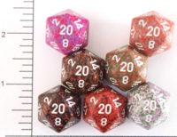 Dice : D20 OPAQUE ROUNDED SPECKLED WITH WHITE 1