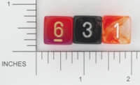 Dice : NUMBERED TRANSLUCENT ROUNDED SWIRL CHESSEX 01