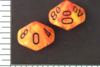 Dice : D10 OPAQUE ROUNDED SWIRL CHESSEX VORTEX MAGMA