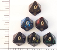 Dice : D8 OPAQUE ROUNDED SWIRL CRYSTAL CASTE OBLIVION STD POLY