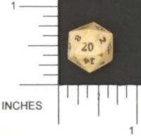 Dice : STONE D20 CRYSTAL CASTE IVORY MAMMOTH