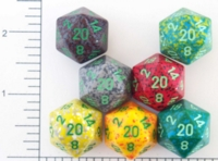 Dice : D20 OPAQUE ROUNDED SPECKLED WITH GREEN 2