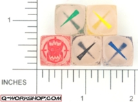 Dice : NON NUMBERED CLEAR ROUND SOLID Q WORKSHOP ORC SCATTER 01