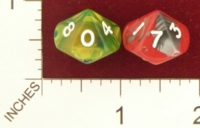 Dice : D10 OPAQUE ROUNDED IRIDESCENT SWIRL CRYSTAL CASTE ODD 01