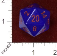 Dice : D20 OPAQUE ROUNDED SOLID CHESSEX PURPLE WITH RED JUMBO 01
