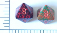 Dice : D8 OPAQUE ROUNDED SPECKLED WITH ORANGE 1