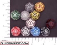 Dice : D12 OPAQUE ROUNDED SOLID Q WORKSHOP RUNIC II 01