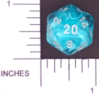 Dice : D20 TRANSLUCENT ROUNDED SWIRL CHESSEX MENAGERIE 01