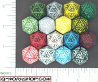Dice : D20 OPAQUE ROUNDED SOLID Q WORKSHOP RUNIC 01
