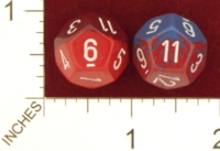 Dice : D12 OPAQUE ROUNDED TWO TONE CHESSEX 01