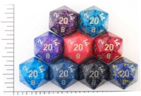 Dice : D20 OPAQUE ROUNDED SPECKLED WITH METAL 2