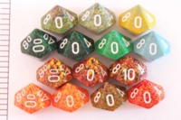 Dice : D10 OPAQUE ROUNDED SPECKLED WITH WHITE 2