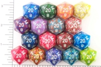 Dice : D20 OPAQUE ROUNDED SPECKLED WITH WHITE 2