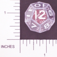 Dice : D12 CLEAR SHARP SOLID KOPLOW DOUBLE DICE 1